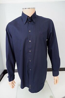 "Versace Classic V2 Mens Long Sleeve Shirt, Size 40 17.5"", XL, Navy Blue, Vgc"