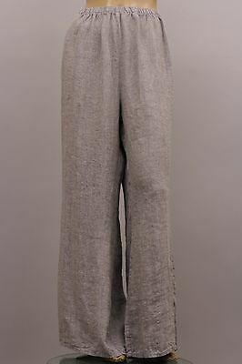 FLAX SELECT LINEN PLUS SIZE BOOTLEG IT2 FLARE PANT WIDE LEG LAVENDER CHAMBRAY 2G