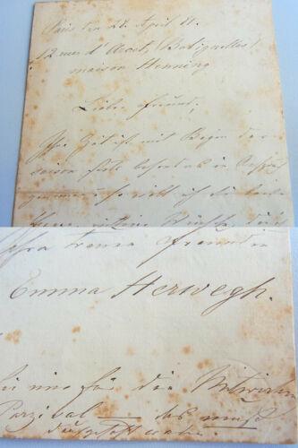 Emma HERWEGH (1817-1904): Brief PARIS 1881 über PARSIFAL-Engagement Sohn Marcel