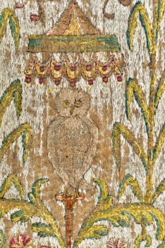 ANTIQUE 17th CENTURY ENGLISH OR ITALIAN OWL OWLS EMBROIDERY TAPESTRY PANELS PAIR