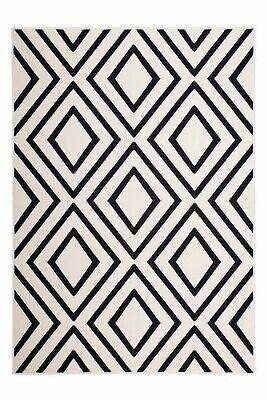 Kayoom Teppich Lina 500 Elfenbein / Schwarz Kurzflorteppich 80 x 150 cm - Schwarz Elfenbein Teppich