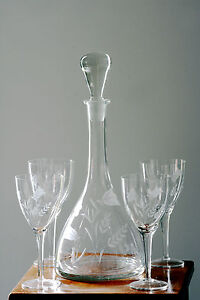 Antique Wine Decanter, etched with six matching glasses