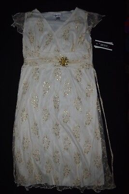 NWT Girls Amy Byer Sz 14 Fancy Party Dress Cream Gold Teen Tween Dressy Wedding (Tween Dressy Kleider)