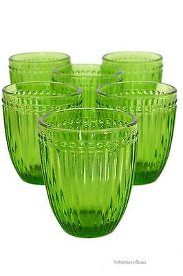 Set 6 Vintage-Style Green Stripe Double Old-Fashioned Whiskey Glass (Green Double Old Fashioned Glass)