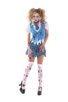 Sexy Adult Halloween Zombie School Girl Specter Costume w Blood Stains](Halloween Costume Zombie School Girl)