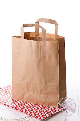 10 Papier Tragetasche Papiertasche mit Flachgriff Papiertüte Geschenktragetasche ()