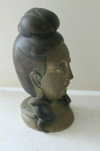 Exquisite Antique Buddha Head In Bronze