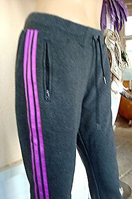 Pantalon jogging  adidas gris aux 3 bandes rose t 36/38 neuf