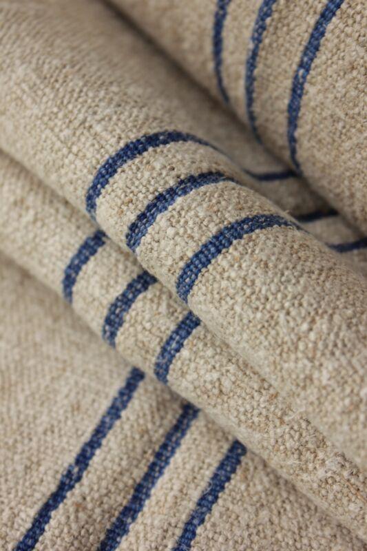 Grainsack fabric grain sack material hemp homespun BLUE 9.3yds HEAVY upholstery