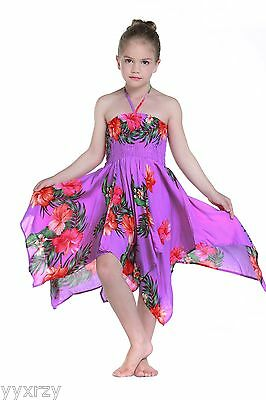Girl Luau Dress Gypsy Aloha Summer Beach Hawaiian Cruise Elastic Purple Red Flow - Bohemian Girl Dresses
