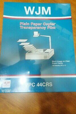 Wjm - Plain Paper Copier Transparency Film - Ppc 440 - 100 Sheets New