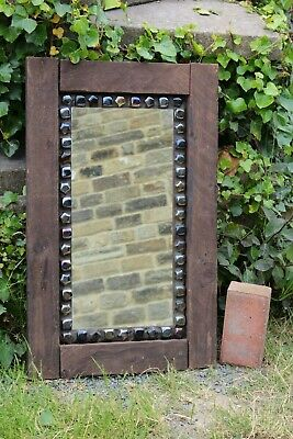 Reclaimed Mirror Timber Wood Dark 73 cm x 46 cm for sale  Keighley