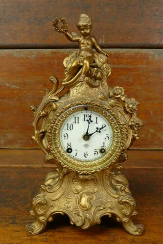 Antique French Rococo Ansonia Guilded Gold Metal Cherub Mantle Clock - No Key