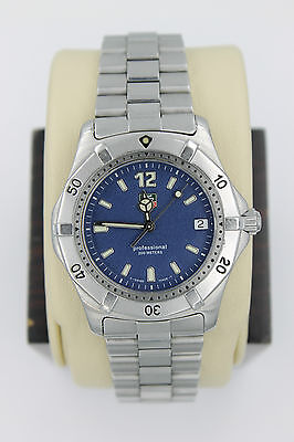 """Tag Heuer 2000 Classic Professional WK1113 Watch Mens BLUE Mint Crystal 8.5"""""""