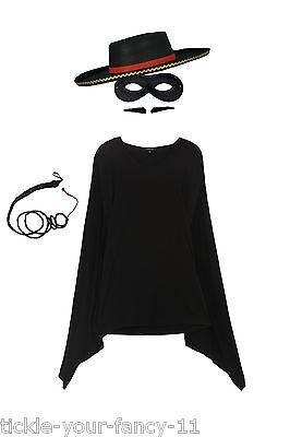 Men's Zorro Fancy Dress Costume Kit Mask Cape Whip Tash Hat Spanish Bull Fighter](Male Spanish Costume)