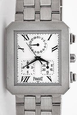 Estate $25,000 PIAGET 18k White Gold CHRONOGRAPH 18k White Gold Watch 129g HEAVY