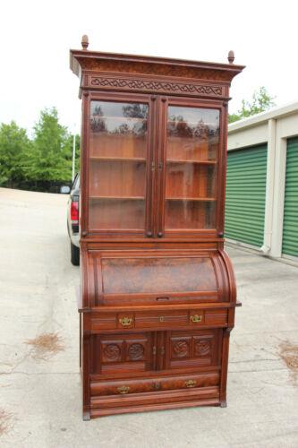 Fancy Burl Walnut Victorian Cylinder Roll Secretary Desk Bookcase Unusual Base