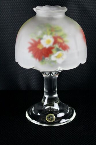 Westmoreland Candle Fairy Lamp Reverse Painted Christmas Floral Clear Base