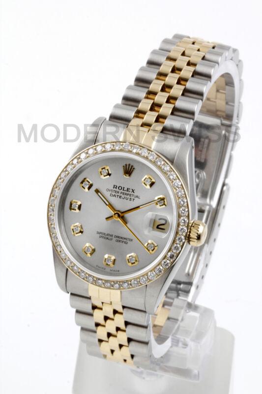 Rolex Ladies Midsize Datejust 18k Gold Steel Silver Diamond Dial & Bezel Jubilee