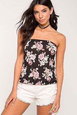 NWT A'gaci Women's Black Desiree Top Floral Print Elasticized Bubble Tube Sz S-M Floral Print Tube Top