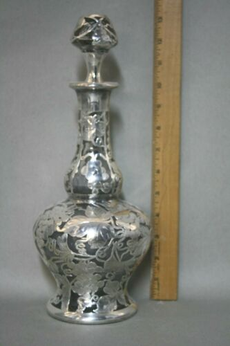 Antique Sterling Silver Overlay Wine Decanter Bottle Grape Design Perfect Cond.