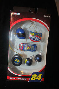 NASCAR Jeff Gordon 24 Dupont Collectable 6 Mini Ornaments NIB Trevco