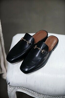 ByTheR Monotone Chain Leather Loafer Shoes Backless US SIZE 9 COLOR BLACK N