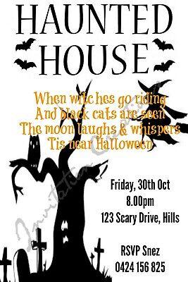 Diy Halloween Birthday Invitations (DIY Print Custom HALLOWEEN SCARY HAUNTED HOUSE Birthday Party)