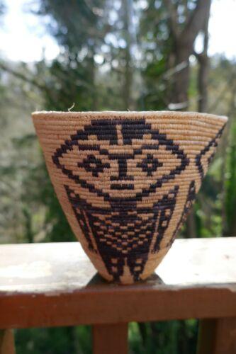 Vintage Skokomish Basket woven by Richard Cultee ( 1931-2014 ) Humanoid Figures