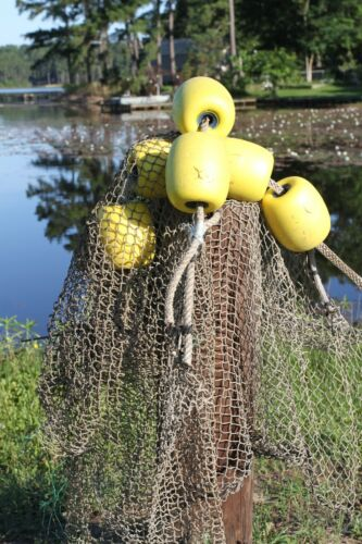 Used Commercial Fishing Net Rope Floats Decor - 2 assemblies