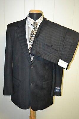 NWT Turnbury Men's Superfine Wool Pinstriped 2 Front Button Suit Sz 40L Wst 34