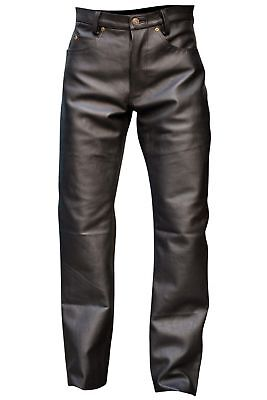 Men Classic Black  Genuine Leather 5 Pocket Motorcycle Pants ( FAST SHIPPING )