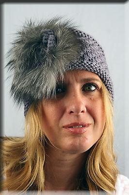 New Gray Knit Headband with Fox Fur Rosette - Efurs4less