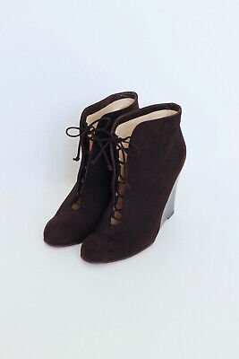 CHRISTIAN LOUBOUTIN Chaperon brown suede lace wedge boot heel UK7 EU40 US10 FR41
