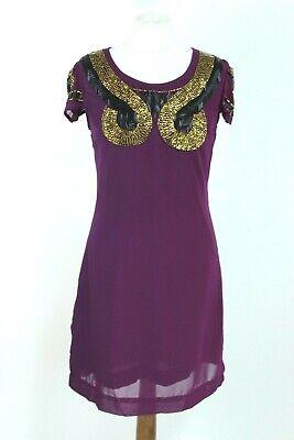 Almatrichi BNWT Violeta Adornado Por Mano Fiesta Mujer Vestido Talla 38 Eu...