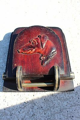 Lovely Art Deco Newspapers and Letters Wood Sculpted Carved Dog Wall Basket
