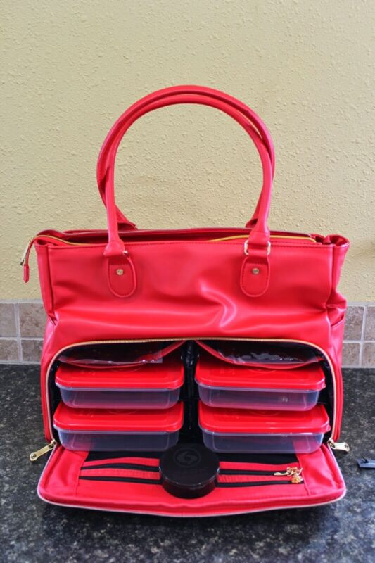 Six Pack Fitness Insulated Red Travel Fit Renee  Bag meal prep carry all