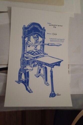 Jim Pollock SUBSCRIPTION EDITION Letterpress print - Mint Condition COA