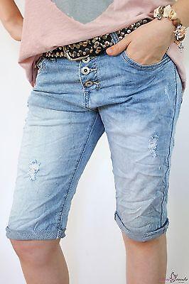 34 36 NEW BOYFRIEND JEANS HOSE SHORTS BERMUDA BAGGY USED DESTROYED HELLBLAU  Destroyed Boyfriend-jeans