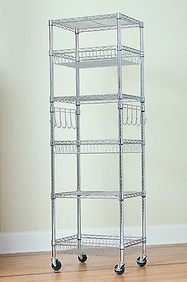 6 Tier Multipurpose Steel Wire Storage Rack-chrome-18x24x75 With Bonus Liners