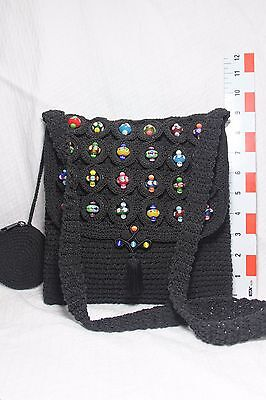 Amicci by Pavio Knitted Shoulder Bag with Glass Beads Bead Knitted Bags