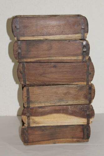 Lot of 6 Rustic Primitive Farmhouse Decor Vintage Wooden Brick Mold Box 12x6x4