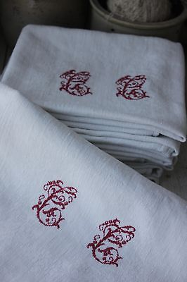 Vintage damask napkins set of three monogrammed TK initials