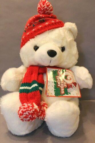 "CHRISTMAS WHITE PLUSH BEAR RED SCARF & HAT 16"" DAN DEE"