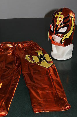 REY MYSTERIO ORANGE SUIT 6-10 year COSTUME FANCY DRESS OUTFIT - Rey Mysterio Suit