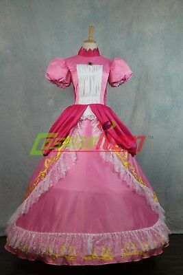 Super Mario Princess Peach DRESS Adult Costume Bros and Luigi Cosplay costume