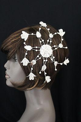 Women Head Hair Claws Piece Fashion Jewelry Silver Bead Flowers Leaf Accessories