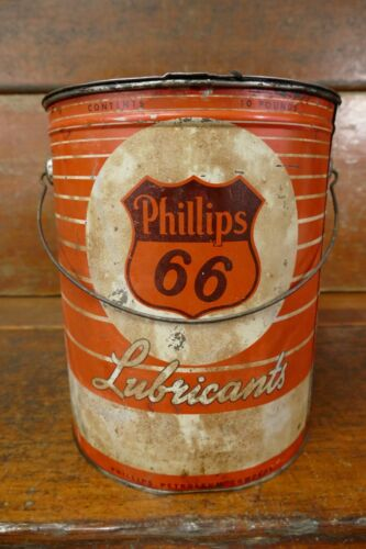Vintage 1950s Phillips 66 Lubricants 10lb Grease Oil Can Pail w/ Handle - Empty