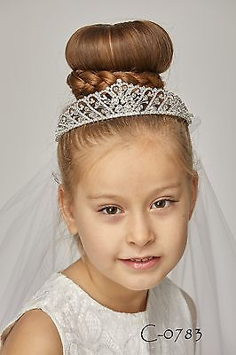 New Girls Rhinestone First Communion Veil Tiara Headpiece Baptism Christening 3](First Communion Headpieces)