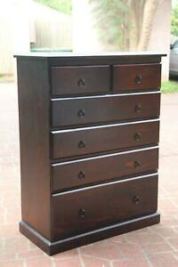 Good condition dark solid 6 drawers tallboy metal runner can deliver
